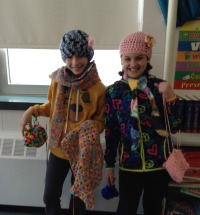 Students dressed in woollen accessories.