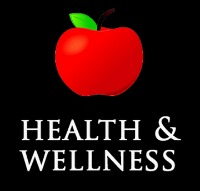 Health & Wellness sign black background with a red apple