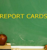 Report Cards written on a blackboard